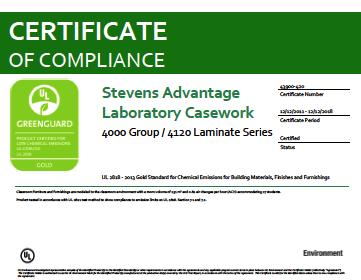 Stevens Advantage Laboratory Casework 4000 Group / 4120 Laminate Series